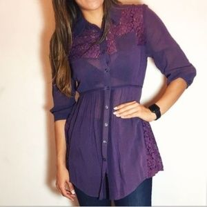 Free People Purple Floral Lace Boho Button Tunic